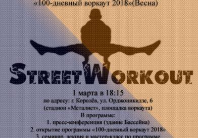 1 марта Открытие программы «100-дневный воркаут 2018 (Весна)».